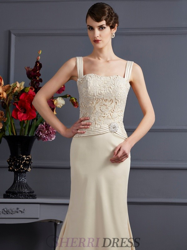 ... Sheath Column Square Elastic Woven Satin Sleeveless Floor-Length  Champagne Mother of the Bride ... a03f312b86c