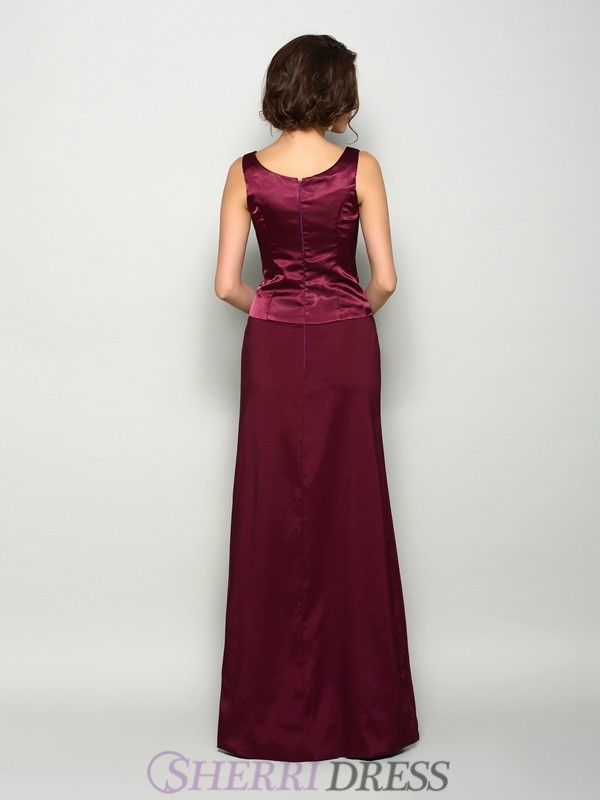 ... A-Line Princess Square Elastic Woven Satin Sleeveless Floor-Length  Burgundy Mother of 49c1728a0f5