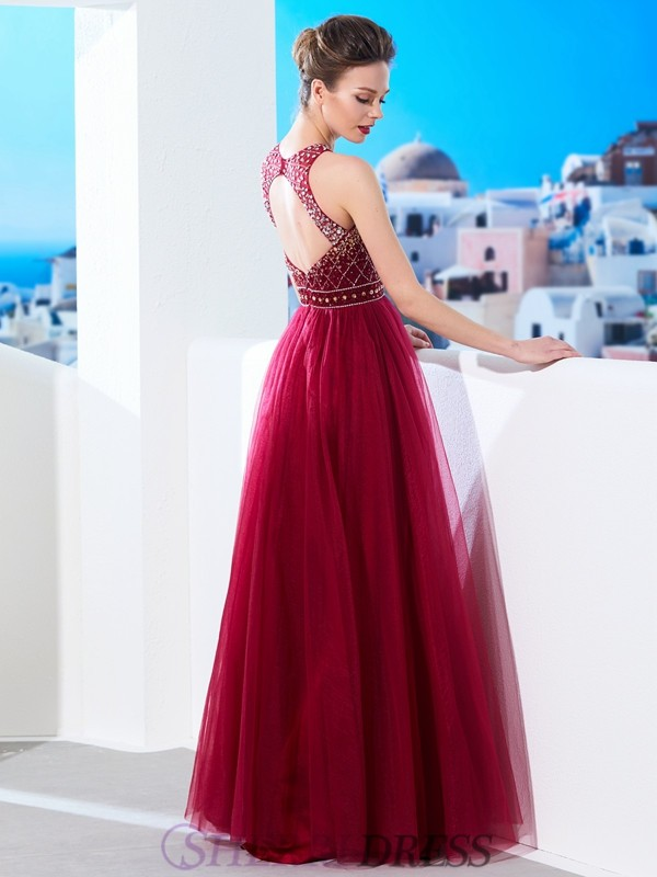 ... Τούλι Αμάνικο Μακρύ Φορέματα · A-Line Princess Scoop Tulle Sleeveless  Floor-Length Dresses 8434b7ad903